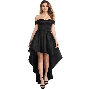 6c8d0d365 2016 negro alto bajo tafetán faldas con lazos Chic Invisible cremallera  cintura faldas largas ...