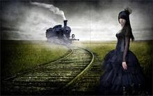 Style girl train road style 4 Sizes Home Decor Canvas Poster Print