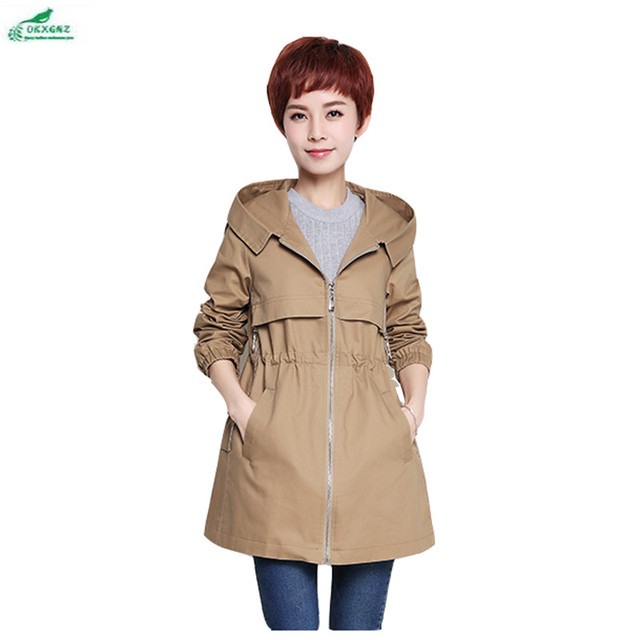 1d7b3ab664b US $61.68 49% OFF|Middelbare leeftijd kleding lente herfst Windjack jas  dames Koreaanse losse vet MM grote maat lente jas vrouwelijke lange sectie  ...