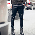 2017 autumn winter new mens leather pant street fashion casual beam foot trousers punk rock style men leather harem pant