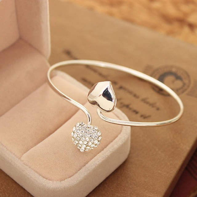 Silver Plated Love Open Bangles Women Double Heart Crystal Cuff Bracelet Cubic Zirconia Rhinestone Charm Jewelry Adjustable