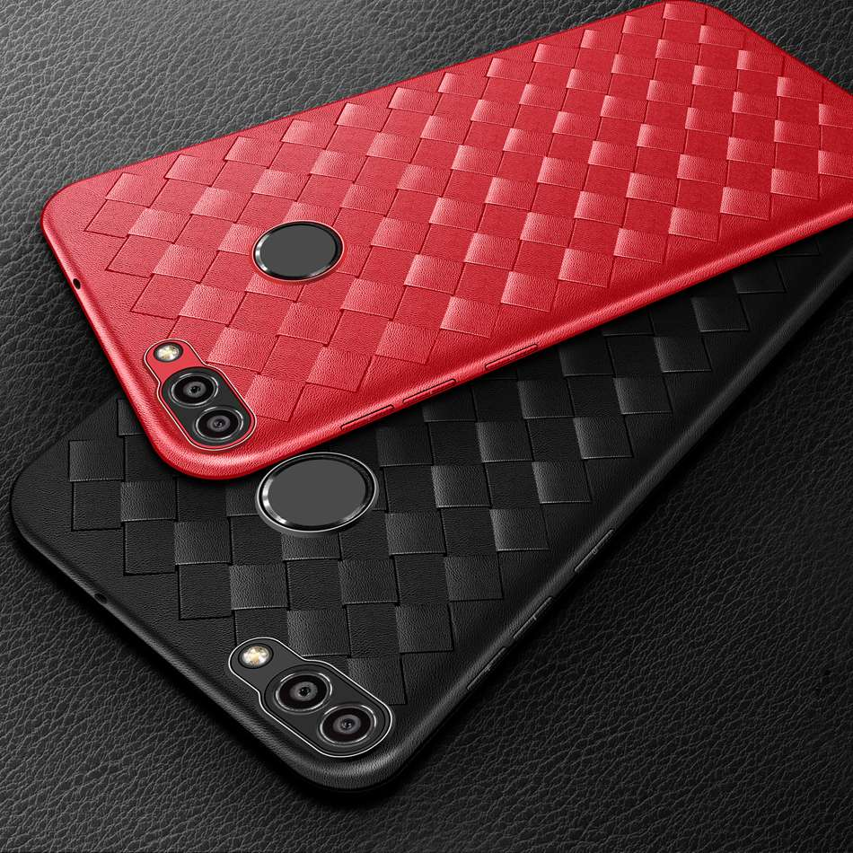 Luxury Grid Weaving Case For Huawei <font><b>P</b></font> <font><b>Smart</b></font> Case 2018 Soft Silicone Back Cover For Huawei <font><b>P</b></font> <font><b>Smart</b></font> FIG-LX1 Enjoy 7S Phone Cases image