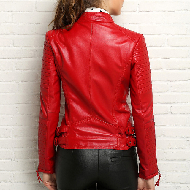 100% Real Sheepskin Coat Female Genuine Leather Jacket Short Slim Jackets For Women Outerwear 3