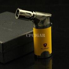 Jaune Mode 4 Torche Jet Feu Flamme Coupe-Vent Gaz Butane Rechargeable Table Cigarette Allume-cigare W/Cadeau Boîte LC-79Y