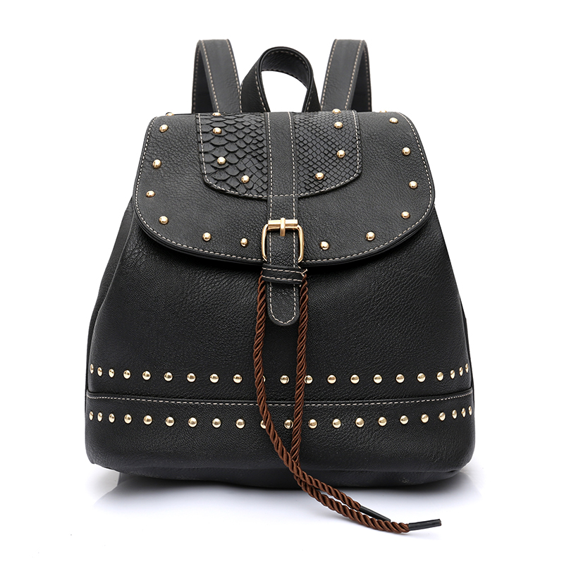 Trenadorab women backpack Female vintage soft leather serpentine rivet teenage school bags backpack for teen girl mochila femini