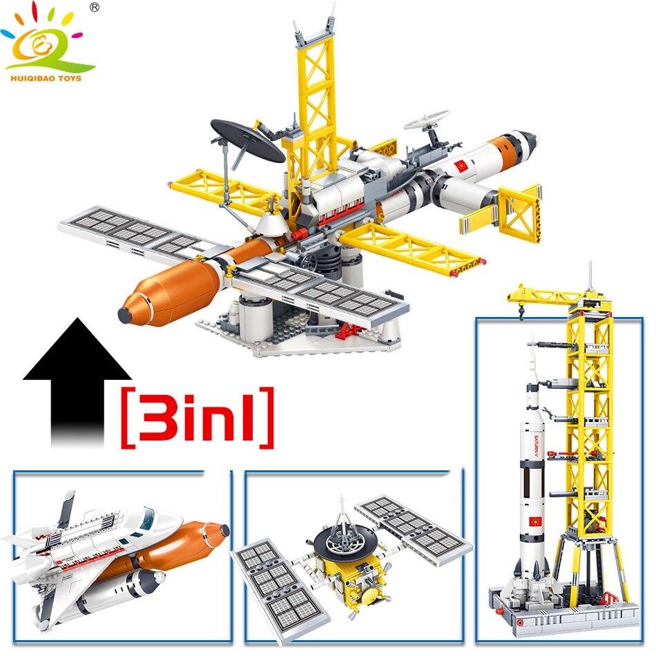 Image 5 - HUIQIBAO Space station Saturn V Rocket Building Blocks City Shuttle satellite Astronaut figure man Bricks set Children Toys giftBlocks   -