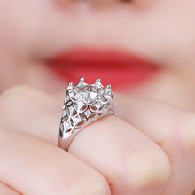 925 Sterling Silver Engagement Wedding Ring for Women 9-10mm Pearl or Round Bead Semi Mount Ring Jewelry Setting(China)