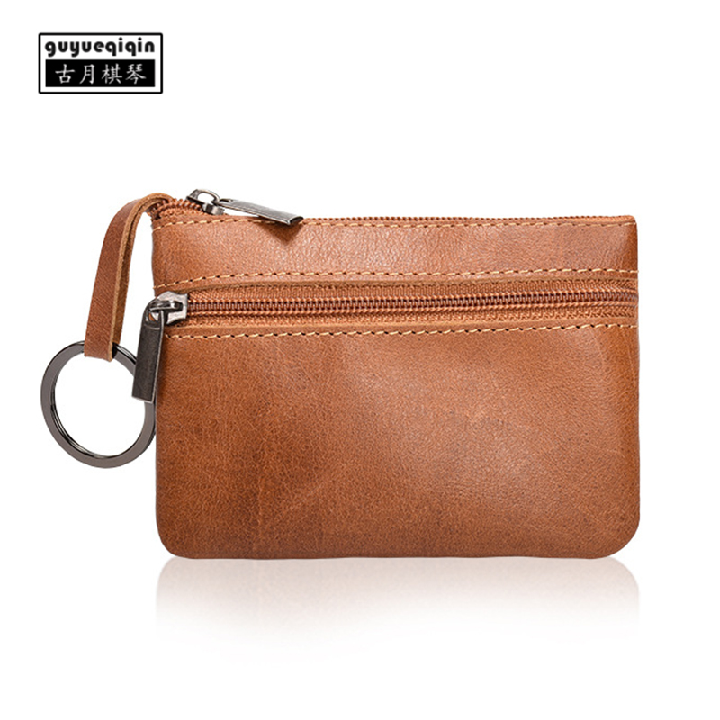 Coin Wallet Genuine Leather Multi-function Mini Purse Unisex Retro European Zipper Small Pouch for Coins Short Type Card Bags