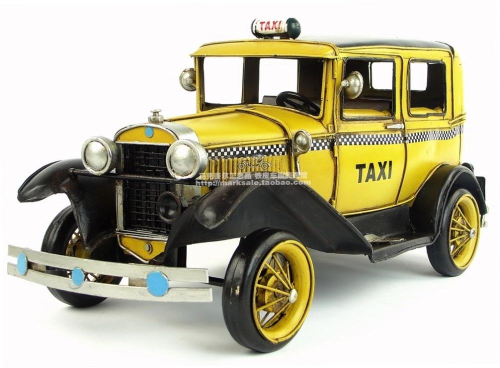 골동품 클래식 택시 자동차 모델 레트로 빈티지 단 금속 공예 홈/펍/카페 장식 또는 생일 선물-에서피규어 & 미니어처부터 홈 & 가든 의  그룹 1