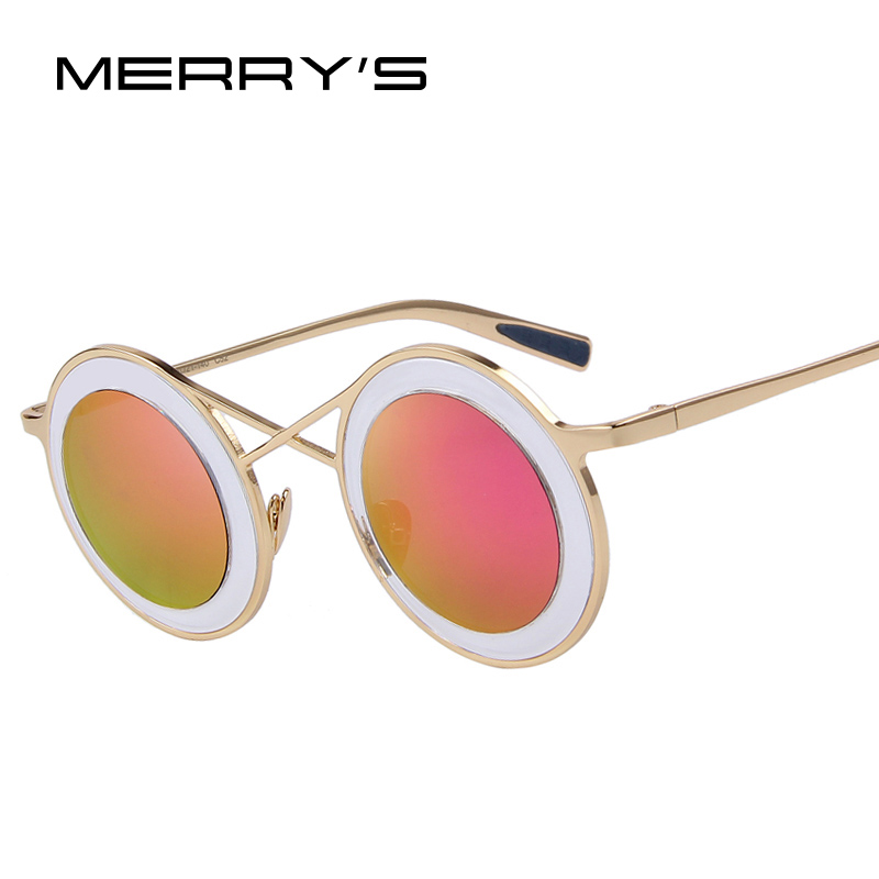 MERRY'S Fashion Women Round Sunglasses Twin-Beams Sunglasses Coating Mirror Flat Panel Lens UV400