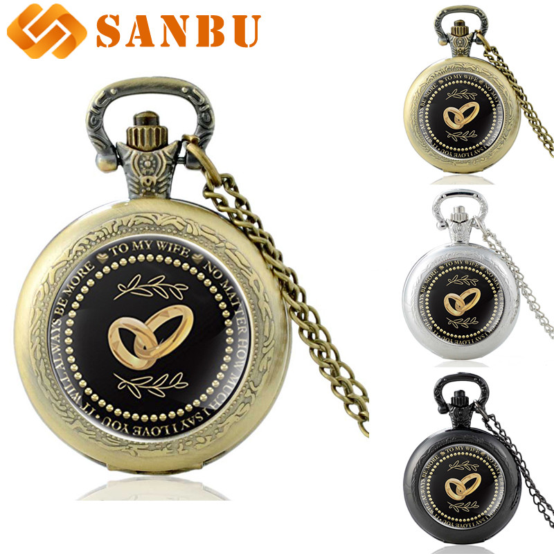 Best Gift For Wife Unique Vintage Bronze Quartz Pocket Watch Retro Women Ring Design Pendant Necklace