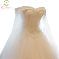 New Luxury High Grade Crystal Beading White Lace Wedding Dress Custom Bride Princess Embroidery Boat Neck