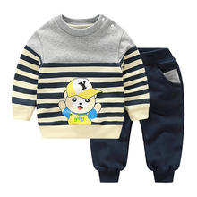 YiErYing 2Pcs Baby Clothes Suits Long Sleeve Cartoon Printed Cotton Coat+Pant For Boy Girl Baby Clothing Sets Outfits suits