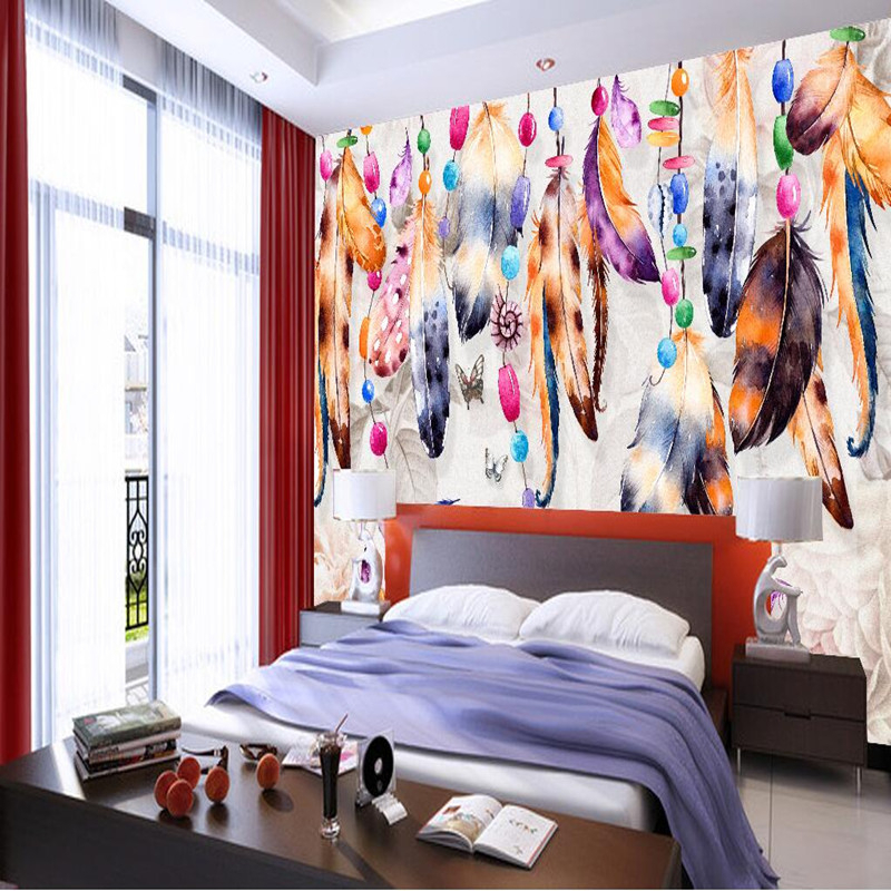 цена  3D Wall Murals Wallpaper Modern Home Decor Aesthetic Color Feathers 3D Photo Wallpaper Bedroom Sofa TV Wallpaper Roll Wall Mural  онлайн в 2017 году