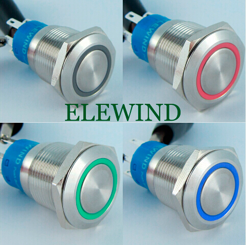 ELEWIND 19mm 3 led color ring illuminated push button switch(PM192F-11E/J/RGB/12V/S 4pins for led)