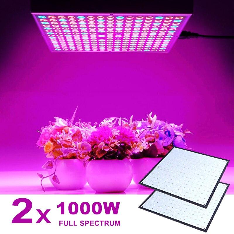 Lâmpada led com espectro completo, 2 peças, 1000 w, lâmpada para crescimento de plantas, luz vermelha, fitolampia, phyto uv ir azul 225 led flor semente