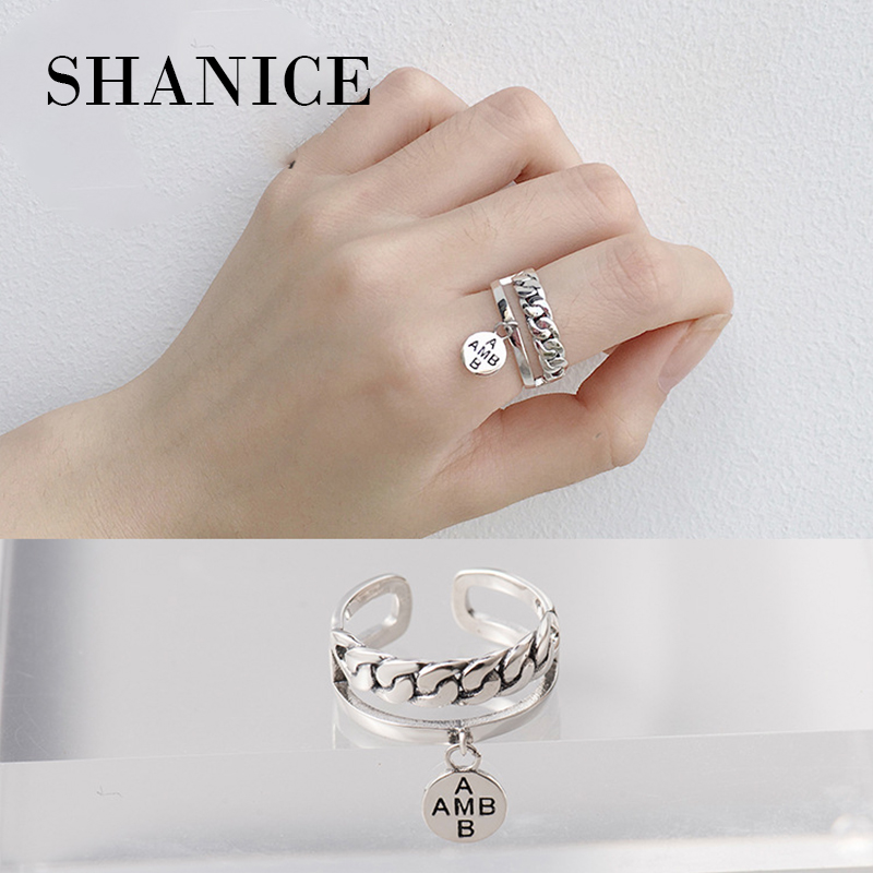 SHANICE 925 Sterling Silver Open Rings Chain Double Layer Woven Hang tag Adjustable Finger Rings Korea Style Silver Jewelry