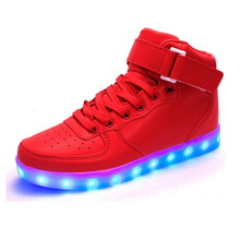 Led Shoes 7 Colors LED Luminous Shoes Unisex Fashion High Upper USB Light UP Basket LED Shoes for Adults USB Rechargeable Shoes