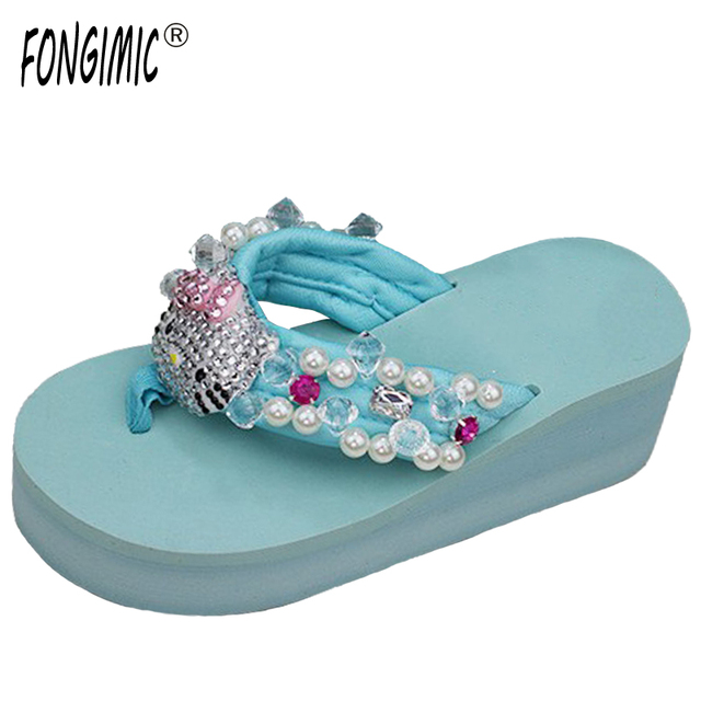 d1928c32a Women fashion all match Pearl gem beach slippers hot sale new summer thick  bottom comfortable wedges flip flops with Rhinestone