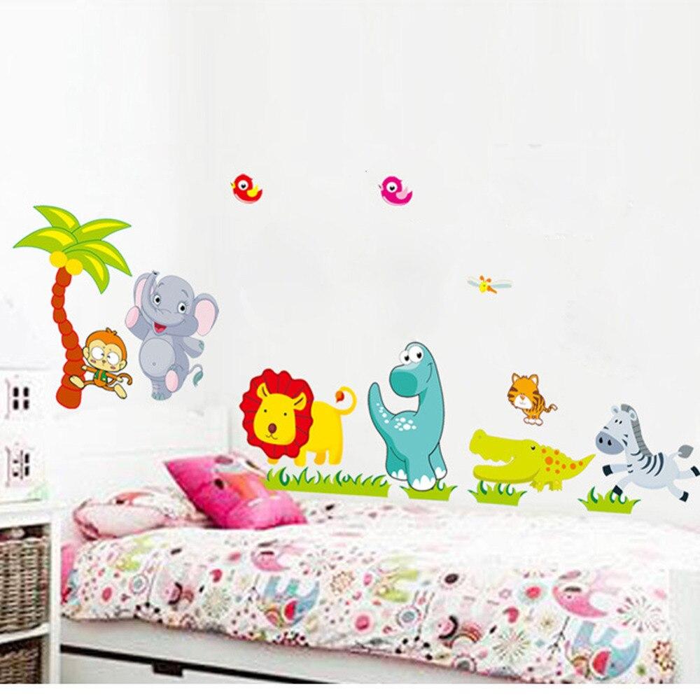 de dibujos animados de animales salvajes de la selva wallpaper pegatinas de vinilo de pared para