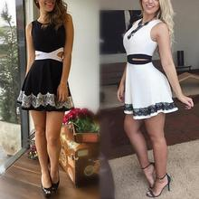 Summer Fashion Women Sleeveless Hollow-out Lace Mini Dress Bodycon Club Party Dresses