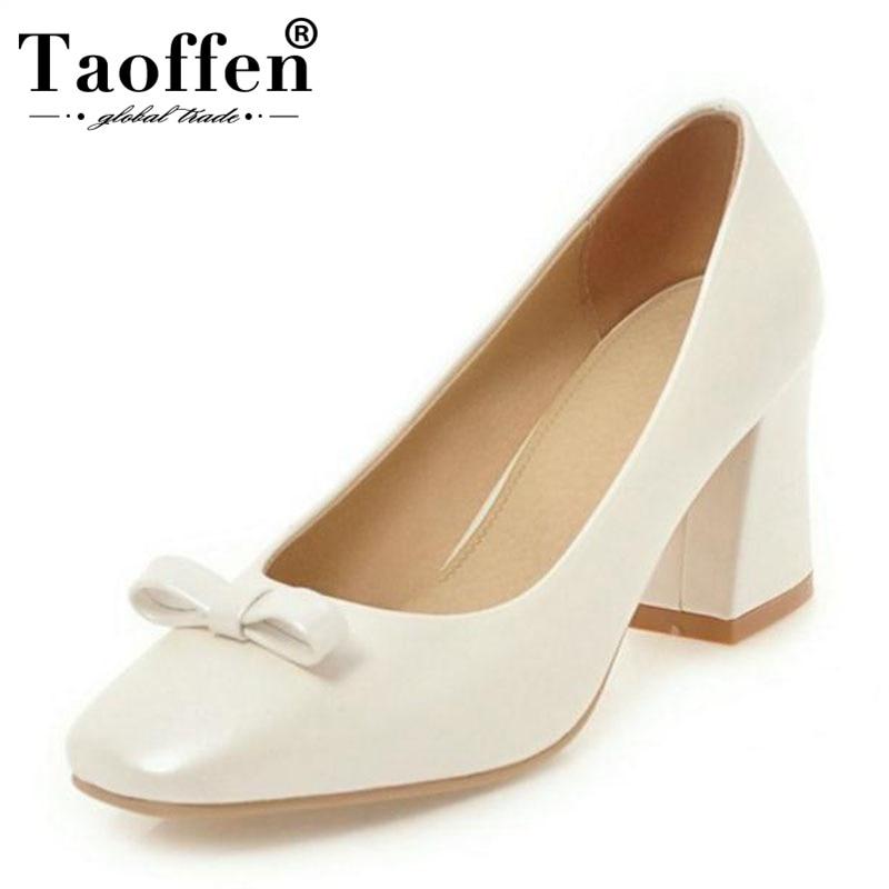 1722537bb936ea rose Bowtie Taoffen Beige Hauts Pompes Carré blanc Talons Printemps De Bout  2019 33 Lady Femmes Chaussures ...