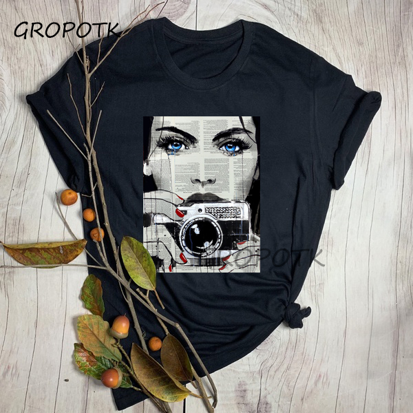 Aesthetic Words Print Face Black T-shirts for Women High Fashion Summer Cotton White T-shirt Harajuku Graphic Tees Top Female