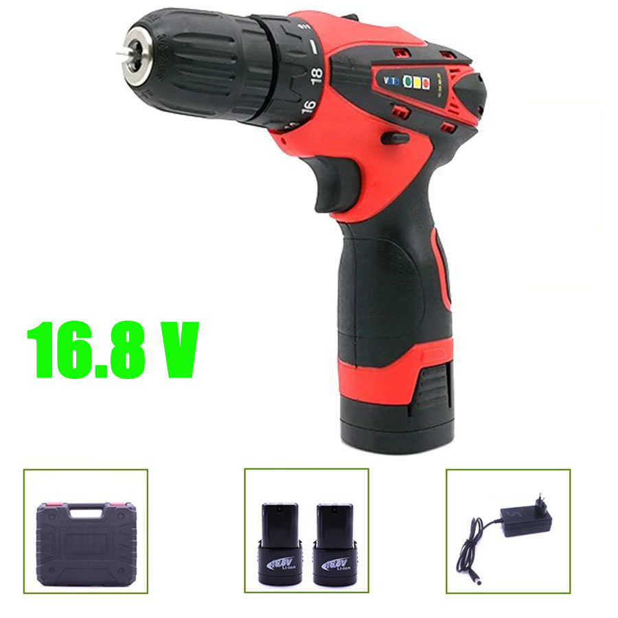 VOTO 2*Battery Rechargeable Cordless Drill Electric Screwdriver Set With Case Lithium Power Tools Screw Gun Driver16.8V RED 2018 protective pc case with 5400mah rechargeable lithium battery