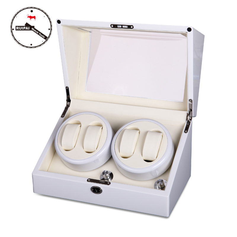 High-end 4+0 BB Type Full White Watch Winder box Glossy Wooden 4 seats 5 Modes Watch Winder цена
