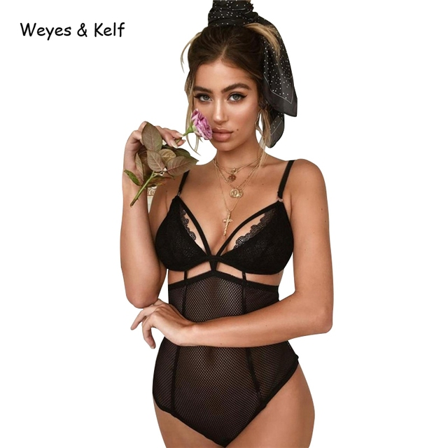 Weyes & Kelf Skinny Solid Black Women Sexy Bodysuit 2018 Lace Short Rompers Womens Jumpsuit Ladies Overalls Mesh Bodysuit