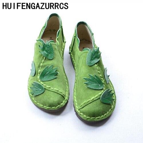 HUIFENGAZURRCS-הלאומי רוח עבודת יד נעלי עור אמיתיות, נעלי נשים נעליים יחידה תחתית שטוחה פנאי ספרותיים ואמנותיים