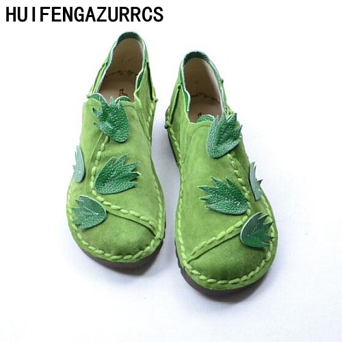 HUIFENGAZURRCS National wind handmade Genuine leather shoes,literary and artistic women shoes flat bottom leisure single shoes