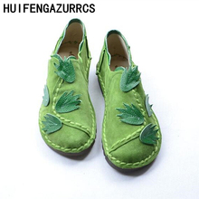 HUIFENGAZURRCS-National wind handmade Genuine leather shoes,literary and artistic women shoes flat bottom leisure single shoes
