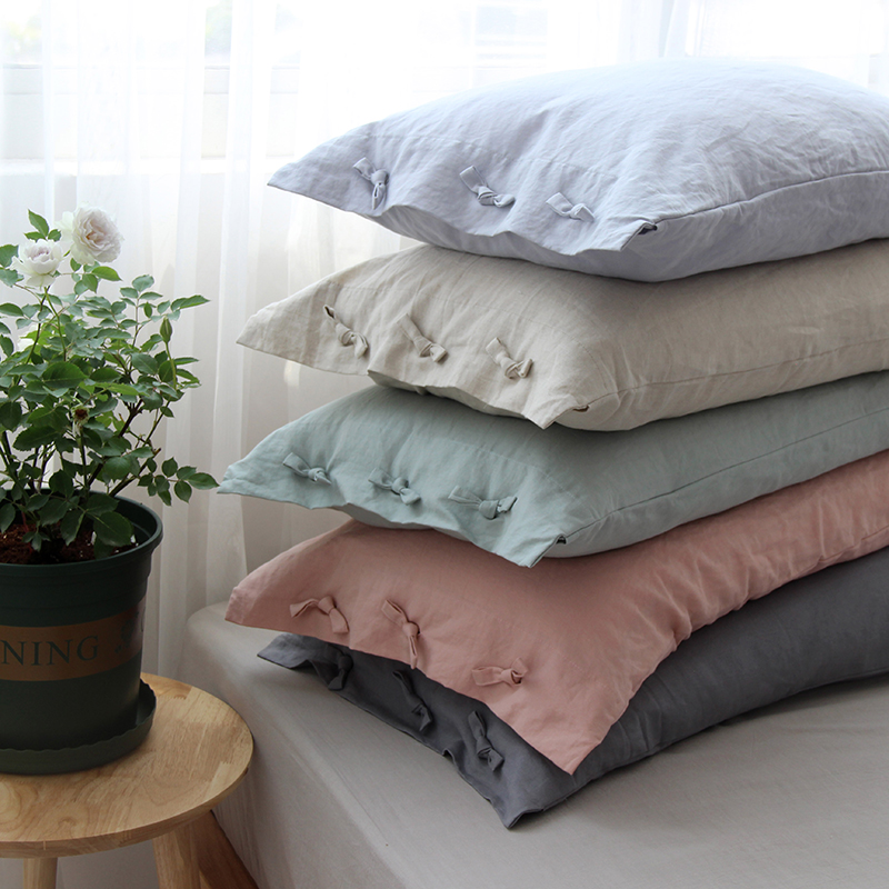 Solid Color Cotton Linen Pillow Case with Bow knot Pillow Cover Wedding Gift Luxury Pillowcase Decorative