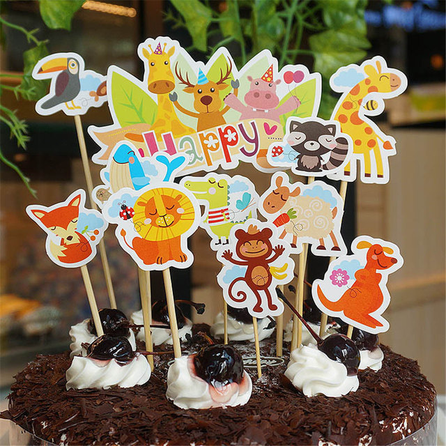 Zoo Kids Birthday Party Decoration Cake Toppers Animal Cupcake Picks Cases Petting Baby Shower Baking Decor