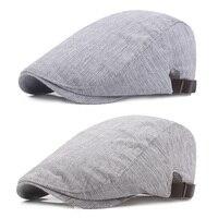 Men Women Classic Striped Berets Driving Sun Cap Adjustable Casual Newsboy Hat HATCS0235