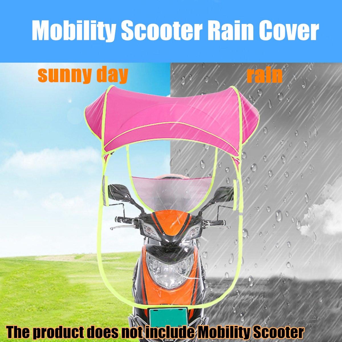 2 pièces rose Polyester moto Scooter pare-soleil housse de pluie véhicule électrique parapluie mobilité imperméable Poncho résistant à la poussière