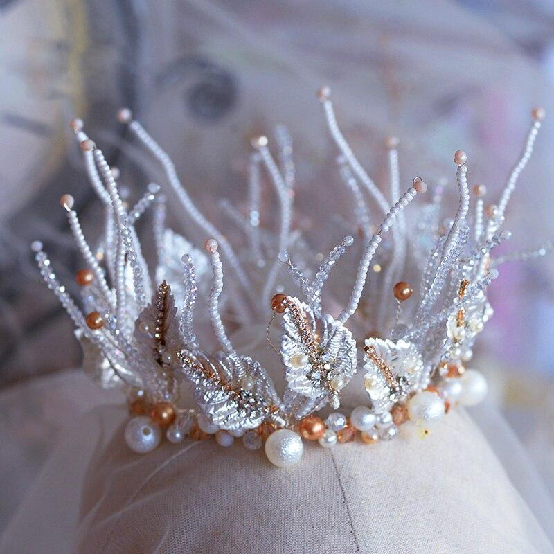 Bandeau européen Baroque avec boucles d'oreilles, diadèmes de mariée, couronne, accessoire de cheveux de mariage, coiffure de bal