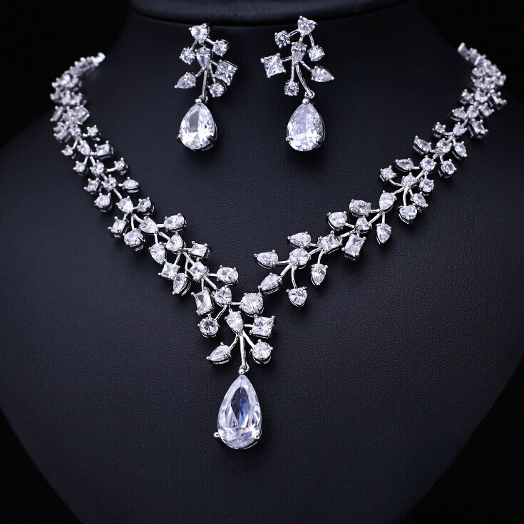 Luxury brilliant AAA cubic zirconia Clear zirconia flower and cirrus fashion style earring and necklace jewelry set weimanjingdian red blue clear teardrop and flower cubic zirconia crystal necklace and earring set for wedding or party