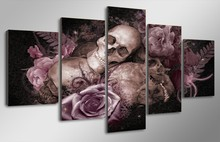HD Printed skull and roses Painting Canvas Print room decor print poster picture canvas Free shipping/ny-2921