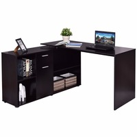 Goplus Rotating L Shape Computer Desk Corner PC Laptop Table Writing Study Workstation Modern Office Home