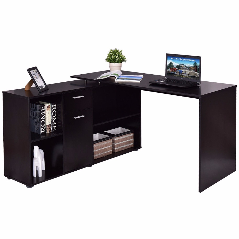 Goplus Rotating L-Shape Computer Desk Corner PC Laptop Table Writing Study Workstation Modern Office Home Desk HW56377