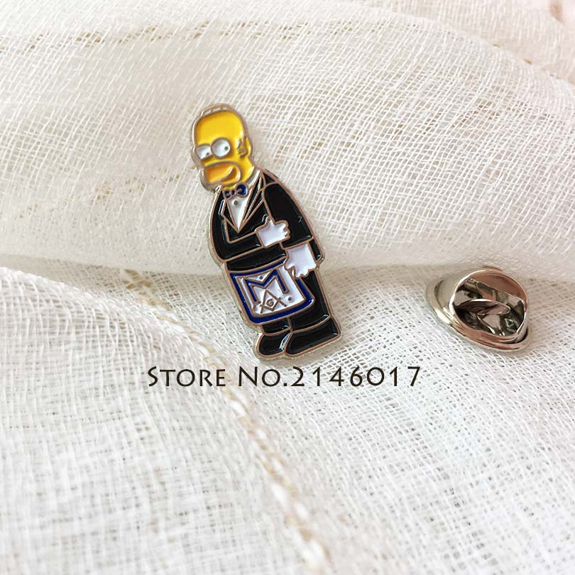 10pcs Wholesale Soft Enamel Pins Badge Metal Craft <font><b>Meme</b></font> Gift Masonic Apron Lapel Pin Cartoon Simpsons Ceremonial Suit Brooch image