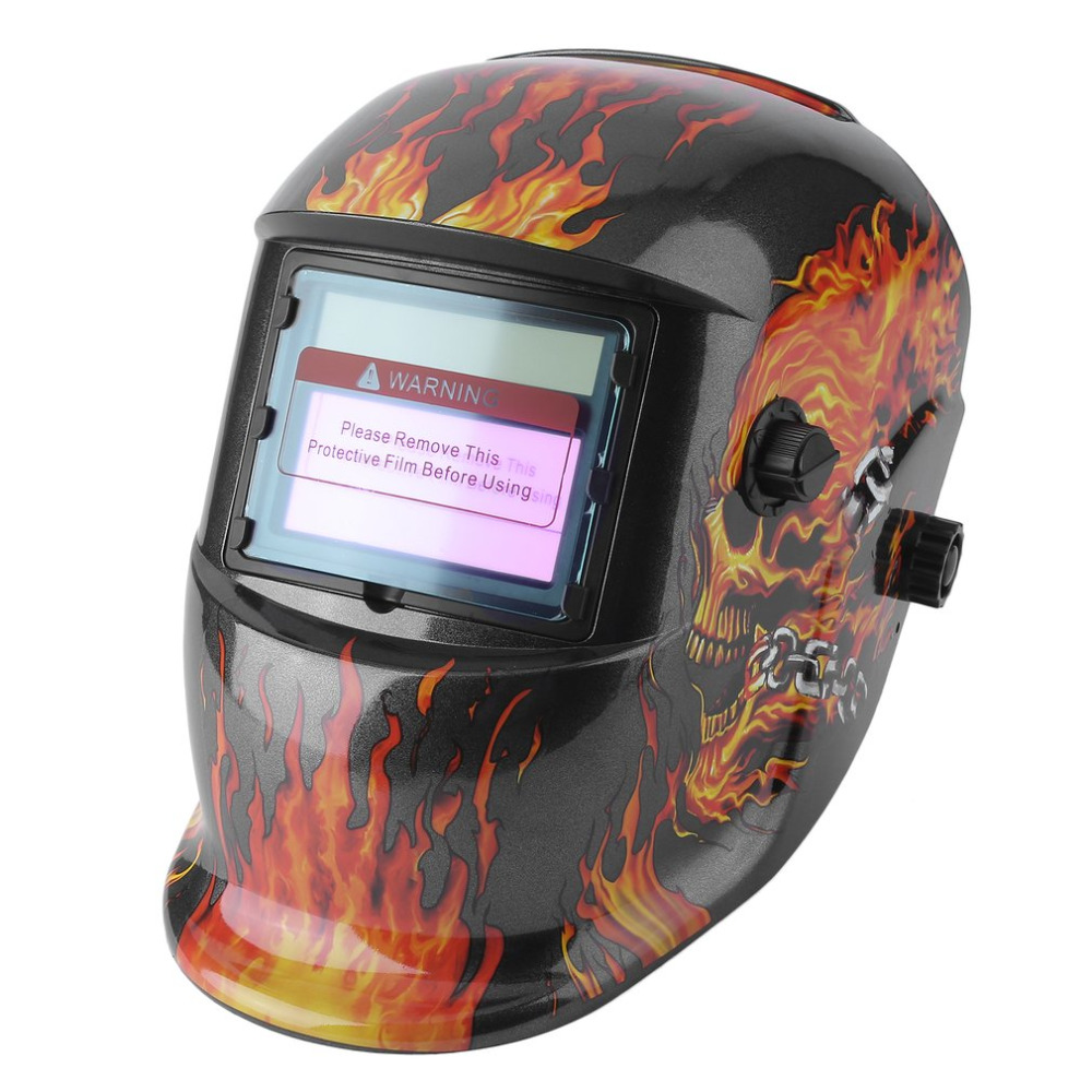 Solar Power Auto Darkening Adjustable Shade Range TIG MIG MMA Electric Welding Mask Helmet Solder Cap Flaming Skull Design solar auto darkening electric welding mask helmet welder cap welding lens for welding machine