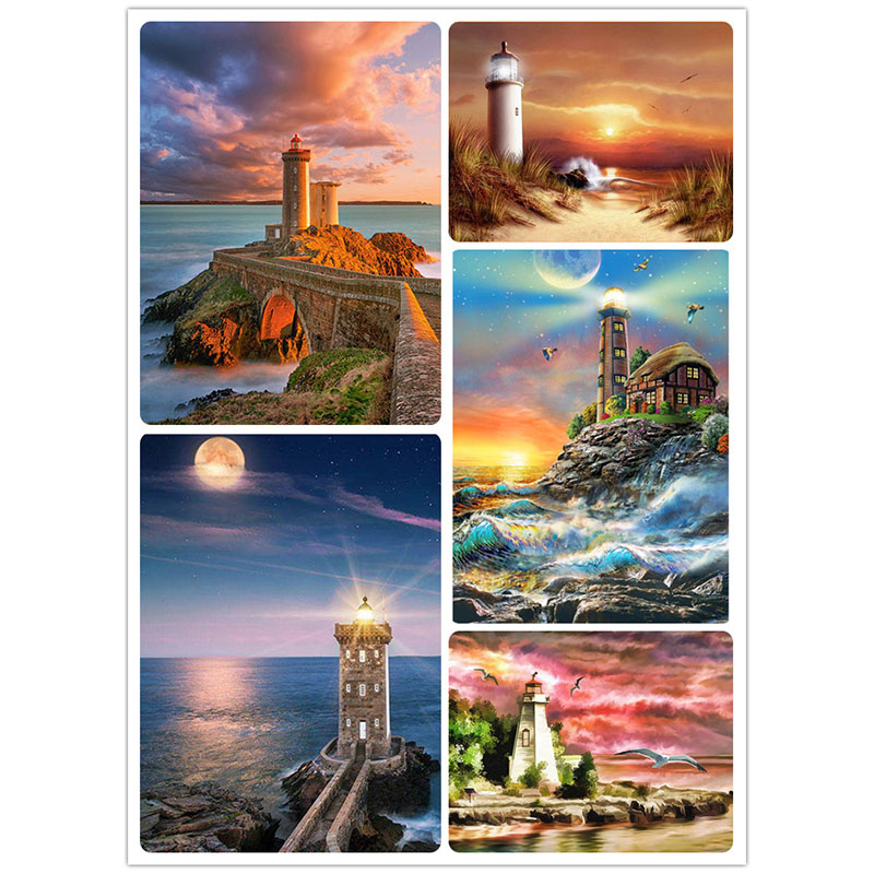 DIY Diamond Painting Scenery Seaside Villa Diamond Painting Lighthouse Cross Stitch Mosaic Patterns Square Rhinestone Home Decor