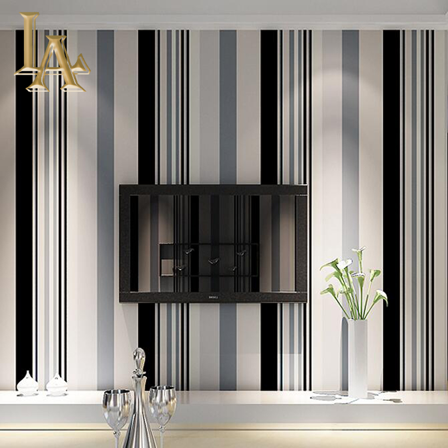 Decorating With Stripes For A Stylish Room: Fashion Black White Grey Vertical Striped Wallpaper Living