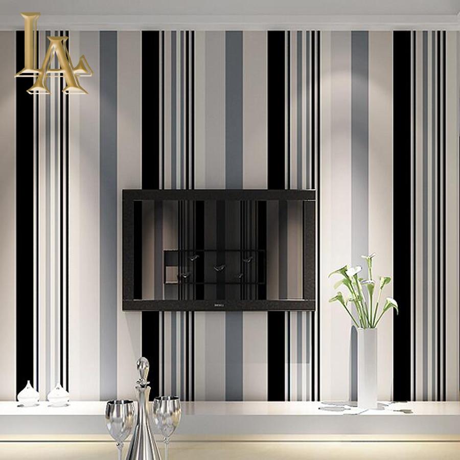 Bande Papier Peint Salon mode noir blanc gris vertical rayé papier peint salon canapé
