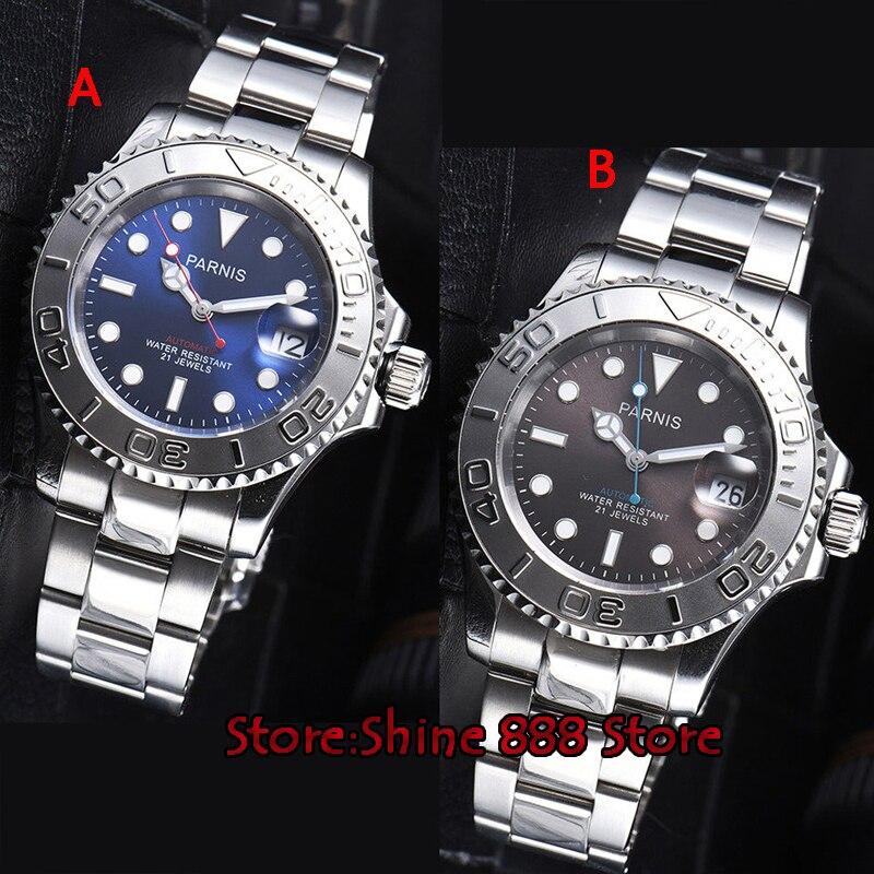 41mm Parnis gris dial rojo segunda mano miyota automático hombre reloj-in Relojes mecánicos from Relojes de pulsera    1