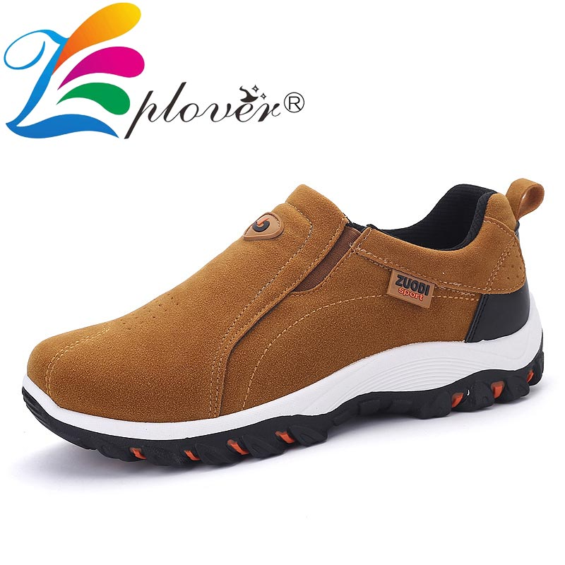 Brand Men Shoes Faux Suede Leather Casual Shoes Men Outdoor Waterproof Breathable Fashion Sneakers Black Men