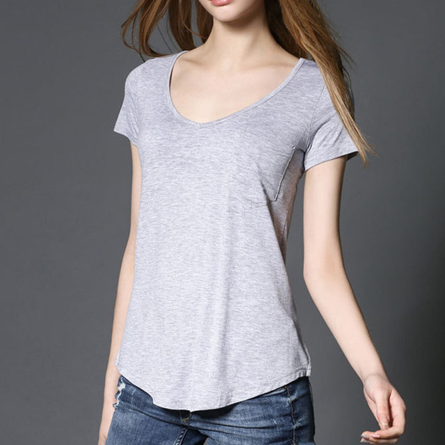 b46b77481092 YUETONGME Deep V neck Plain T Shirt Women modal Solid Basic Tshirt Woman  Tops Basic Short Sleeve T-shirt Femme BTL061-1